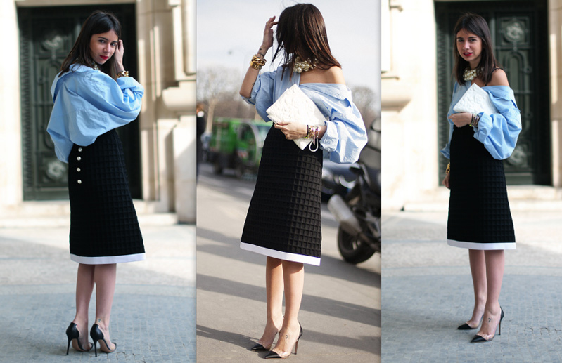 Natasha-Goldenberg-street-style-pfw-chanel-blue-shirt-fashion-inspiration