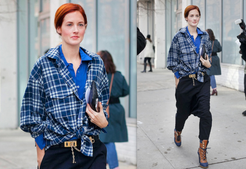 Taylor-Tomasi-Hill-Double-shirt-street-style-NYFW-fashion-inspiration